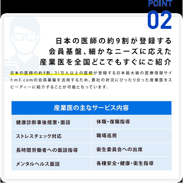 point02 日本の医師の約9割が登録する会員基盤、細かなニーズに応えた産業医を全国どこでもすぐにご紹介
